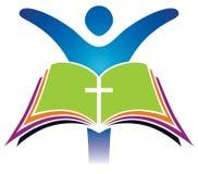 Korslogo för helig bibel stock illustrationer