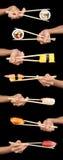 korsmönstrade sushi Arkivfoton