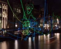 Korsning för Amsterdam ljusfestival 2016-Path Arkivbilder