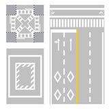 Korsning gata tecken för säkerhetszon på gatan arkivbilder