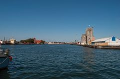 Korsoer harbor in Denmark. On a sunny day royalty free stock photography