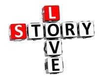 korsord för 3D Love Story på vit bakgrund Fotografering för Bildbyråer