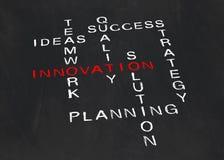 Korsord på innovation arkivfoton