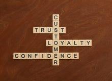 Korsordpusslet med ord litar på, lojalitet, förtroende kund arkivbild