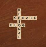 Korsordpusslet med ord skapar den personliga bloggen Arkivbilder