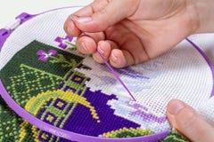 Korsstygn som är handgjord, handarbete Royaltyfria Bilder