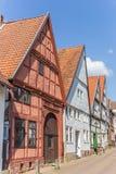 Korsvirkes- hus i den historiska mitten av Blomberg royaltyfria foton