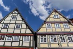 Korsvirkes- hus i den historiska mitten av Celle Royaltyfri Foto