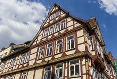 Korsvirkes- hus i den historiska mitten av Celle Fotografering för Bildbyråer