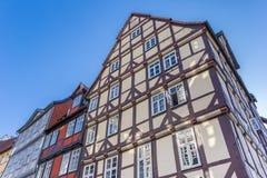 Korsvirkes- hus i den historiska mitten av Hannover Royaltyfria Foton