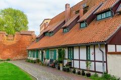Korsvirkes- hus på Johannisklosteren i Stralsund, Tyskland royaltyfria foton