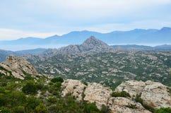 Korsykański nabrzeżny pustyni des Agriates Zdjęcie Royalty Free