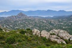 Korsykański nabrzeżny pustyni des Agriates Obraz Stock