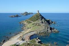Korsykanina wybrzeże z sławnymi Krwistymi wyspami Zdjęcia Royalty Free