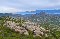 Korsykański nabrzeżny pustyni des Agriates Fotografia Royalty Free