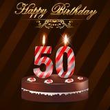 kort 50 år för lycklig födelsedag med kakan och stearinljus, 50th födelsedag Arkivfoton