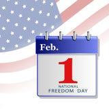 Kort av den nationella dagen av frihet av Amerika i form av en kalender Arkivfoto