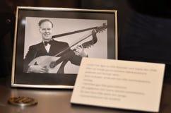 Kort av en man som spelar harpan Arkivfoto