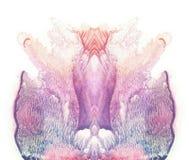 Kort av fjärilen för rorschachinkblotprov För rosa färger, röd och brun målarfärgfläck för blått, för violet, för lilor, abstrakt Royaltyfri Bild
