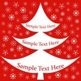 Kort baner med julgran, snöflingor Royaltyfria Foton