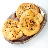 Kort bunt av rostat bröd för indierlägenhetchapati Royaltyfri Bild