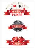 Kort Chips Dice Poker Casino Fotografering för Bildbyråer