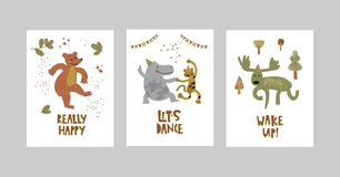 Kort eller affischer ställde in med gulliga djur, björnen, leoparden, flodhästen, älg i tecknad filmstil vektor illustrationer