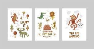 Kort eller affischer ställde in med gulliga djur, krokodilen, älgen, björnen, apan, leoparden, lejonet, hund i tecknad filmstil vektor illustrationer