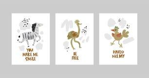 Kort eller affischer ställde in med gulliga djur, sebran, strutsen, fågel i tecknad filmstil stock illustrationer