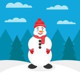 Kort eller baner för det nya året eller julen Snögubbe med näsmoroten, i hatt och tumvanten Bakgrunden visar Arkivfoto