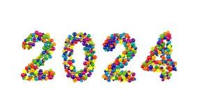 Kort- eller inbjudandesign för nytt år 2024 Arkivfoton