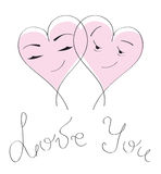Kort & förälskelse för dag för valentin`s. Tecknad filmhjärtapar Arkivbilder