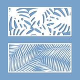 Kort för att klippa uppsättningen Mall med palmbladmodellen för laser-snitt vektor stock illustrationer