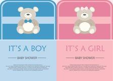 Kort för baby showerberöminbjudan Fotografering för Bildbyråer