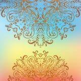 Kort för bakgrund för mandala för blom- prydnad för regnbåge royaltyfri illustrationer
