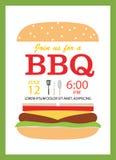 Kort för BBQ-partiinbjudan med hamburgaren Royaltyfria Foton