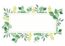 Kort för blom- design för vektor i vattenfärg royaltyfri illustrationer