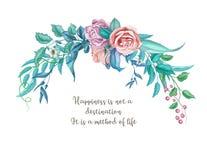 Kort för bröllop för blomma för ros för vektorvattenfärgtappning vektor illustrationer