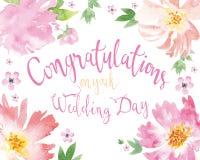 Kort för bröllopet vattenfärg Arkivbild