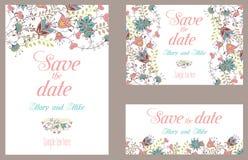 Kort för bröllopinbjudantappning med blom- stock illustrationer