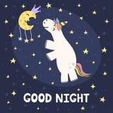 Kort för bra natt med den gulliga enhörningen och månen Arkivfoto