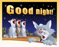 Kort för bra natt med katter Royaltyfri Foto