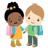 Kort för dag för skolapojke och för valentin för flickainnehavhänder vektor illustrationer