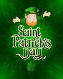 Kort för dag för St Patricks med trollet i en dräkt lycklig patrickssaint för dag vektor illustrationer