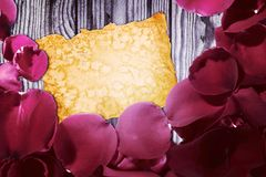 Kort för dag för valentin` s med retro stil för kronblad Fotografering för Bildbyråer