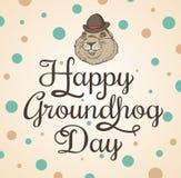 Kort för den Groundhog dagen stock illustrationer