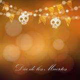 Kort för diameter de los muertos (dagen av dödaen) eller allhelgonaafton, inbjudan Arkivfoto