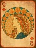 Kort för drottningpokerdiamanter i jugendstilstil stock illustrationer