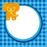 Kort för elefantfödelsedaginbjudan royaltyfri illustrationer