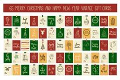 Kort för etiketter för gåva för tappning för glad jul för enorm samling och för lyckligt nytt år med kalligrafi Fotografering för Bildbyråer